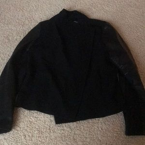 NWT $228 Vince side zip jacket w/ leather sleeves